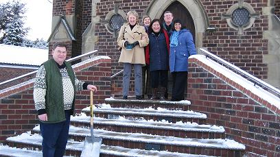 Posing on the steps of the Church