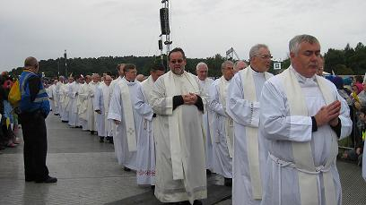 The Clergy parade before the Mass