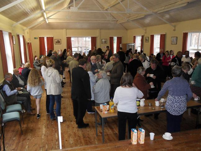 The parish gathers in the Church Hall