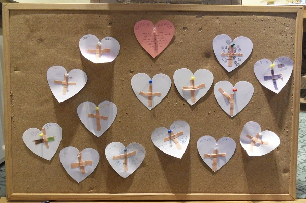 Prayer Hearts created by the Children's Liturgy group